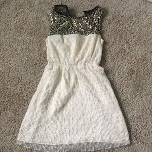 Cream dress with sequence top